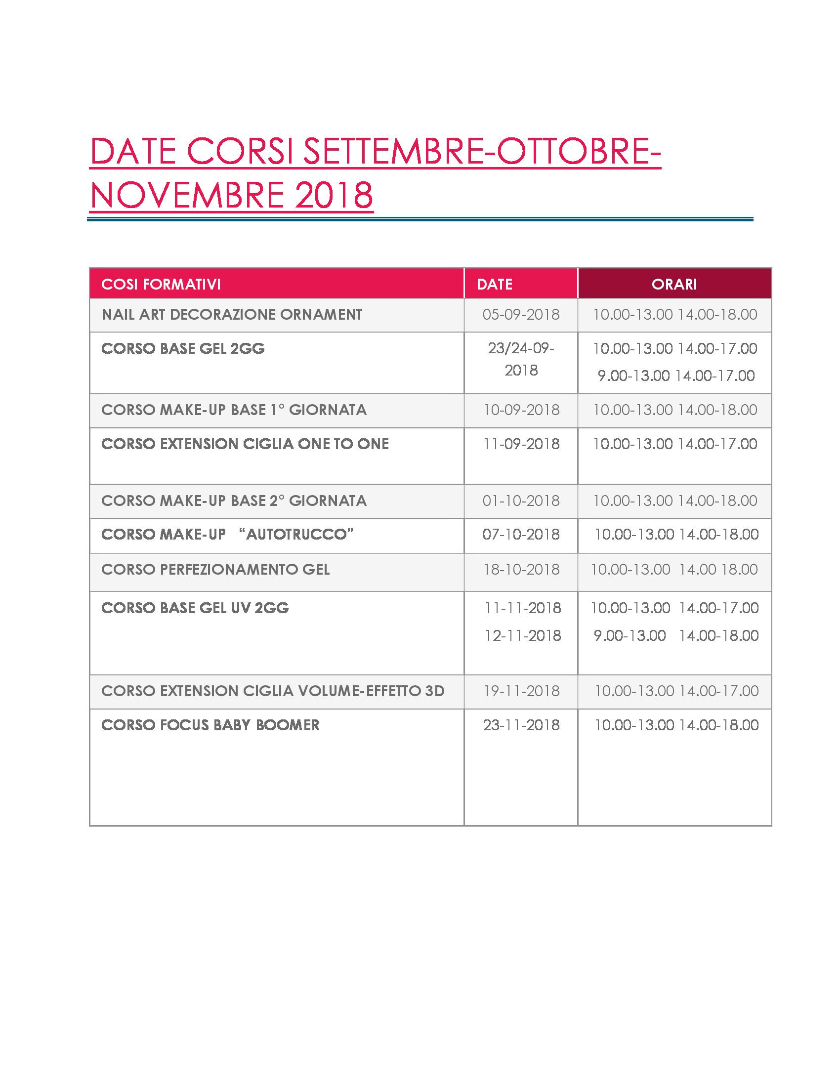 DATE CORSI SETTEMBRE-OTTOBRE-NOVEMBRE 2018